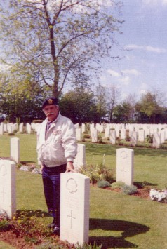 Charles Bouchard, visiting the Canadian CWGC cemetery of Reviers, near Falaise, in Normandy.