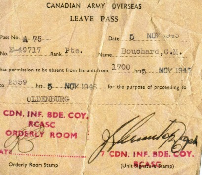 Leave pass, dated November 5th 1945, in Oldenberg, German.