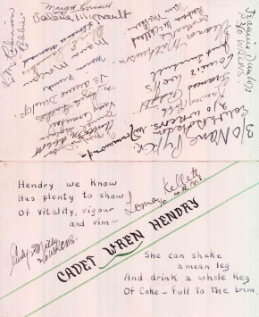 WRCNS Graduation Dinner Place Card for Cadet WREN Hendry, Hardy House, 1943.