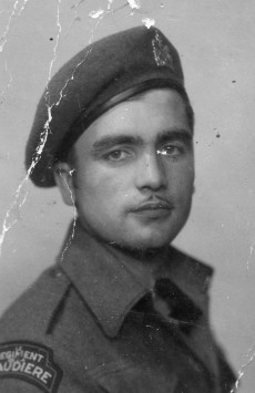 Portrait of Emilien Dufresne, taken in 1942 in England.