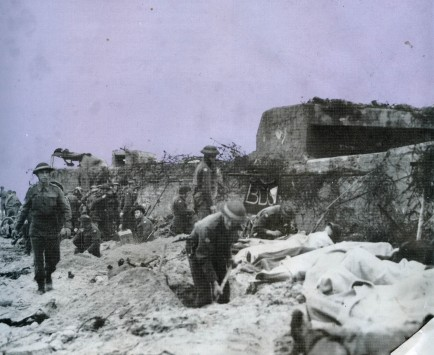Photo taken on Juno Beach as soldiers tended to the wounded.