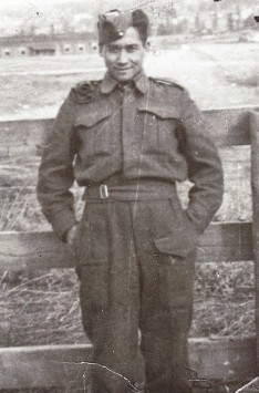 John Marchand at the Vernon Army Camp, British Columbia, 1942.