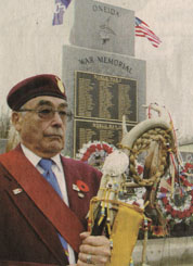 Samuel Hearns at the Alderville Reserve First Nation Eagle Staff at monument in London, November 2002. Samuel served in Vietnam and Cyprus.