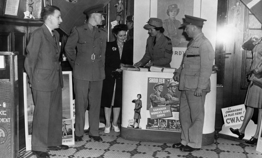 A CWAC recruiting booth in Quebec.