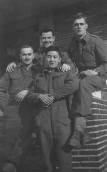 Frank Wong (centre) in Belgium, 1944