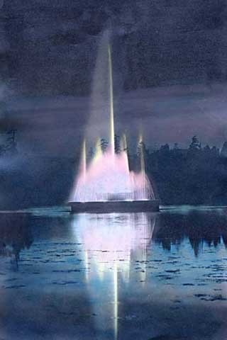 The fountain at Lost Lagoon at night, between 1936 and 1945