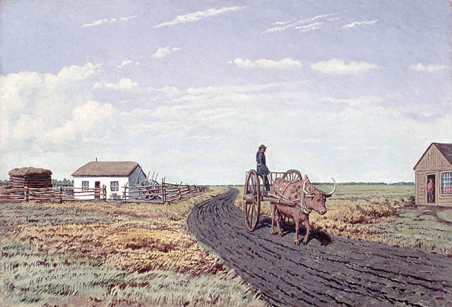 """Manitobah"" Settler's House and Red River Cart"