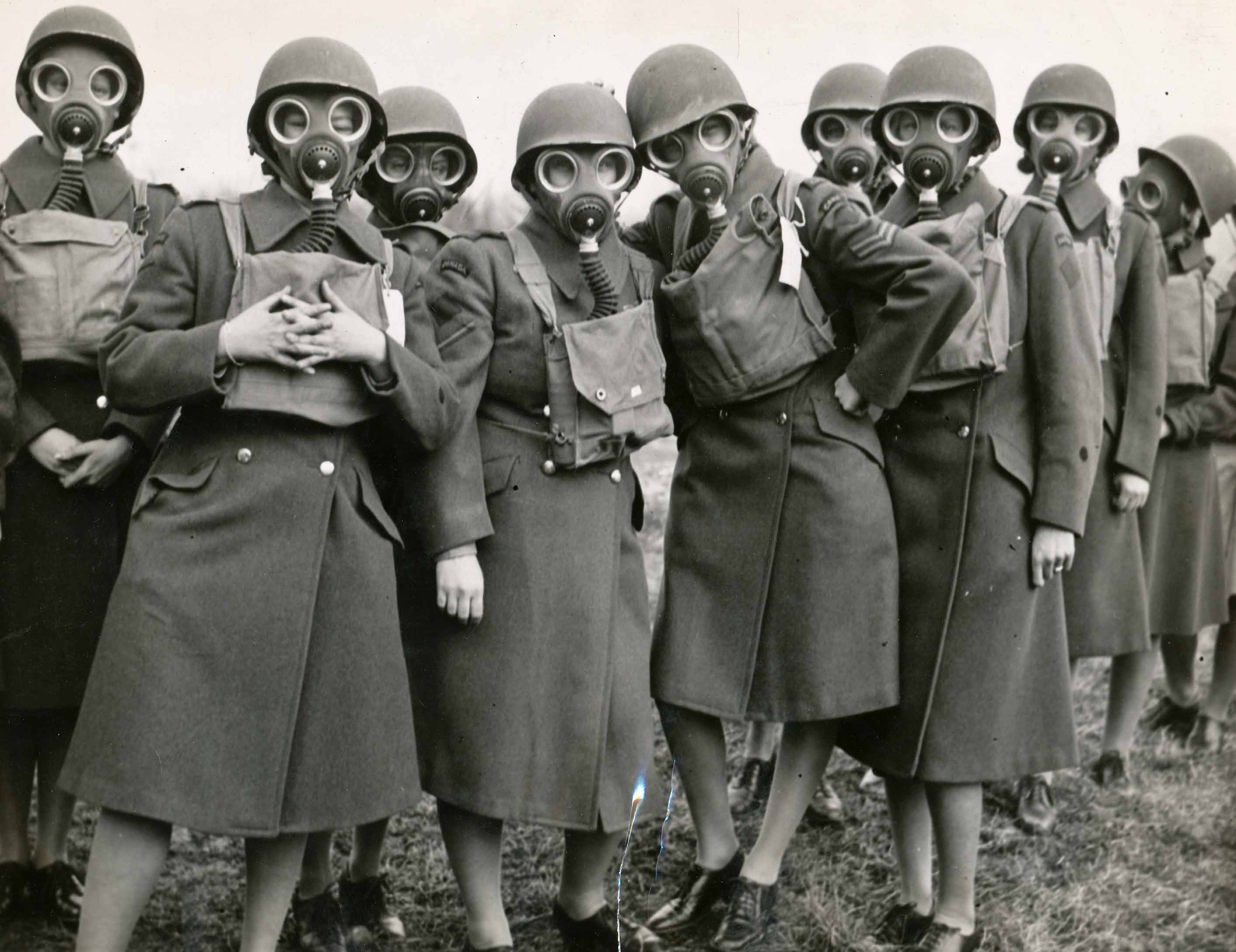 Women in gas masks