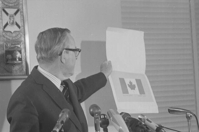 The Right Honourable Lester B. Pearson's press conference regarding the Canadian flag