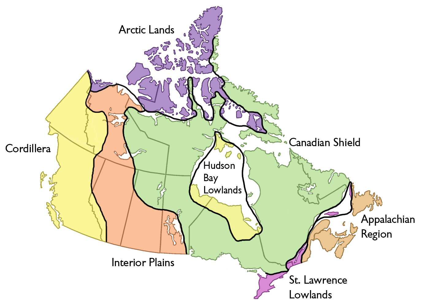 Regional Map Of Canada.Physiographic Regions The Canadian Encyclopedia