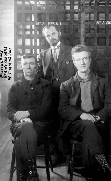 Porcupine strike leaders in the Timmins, ON jail in 1913.