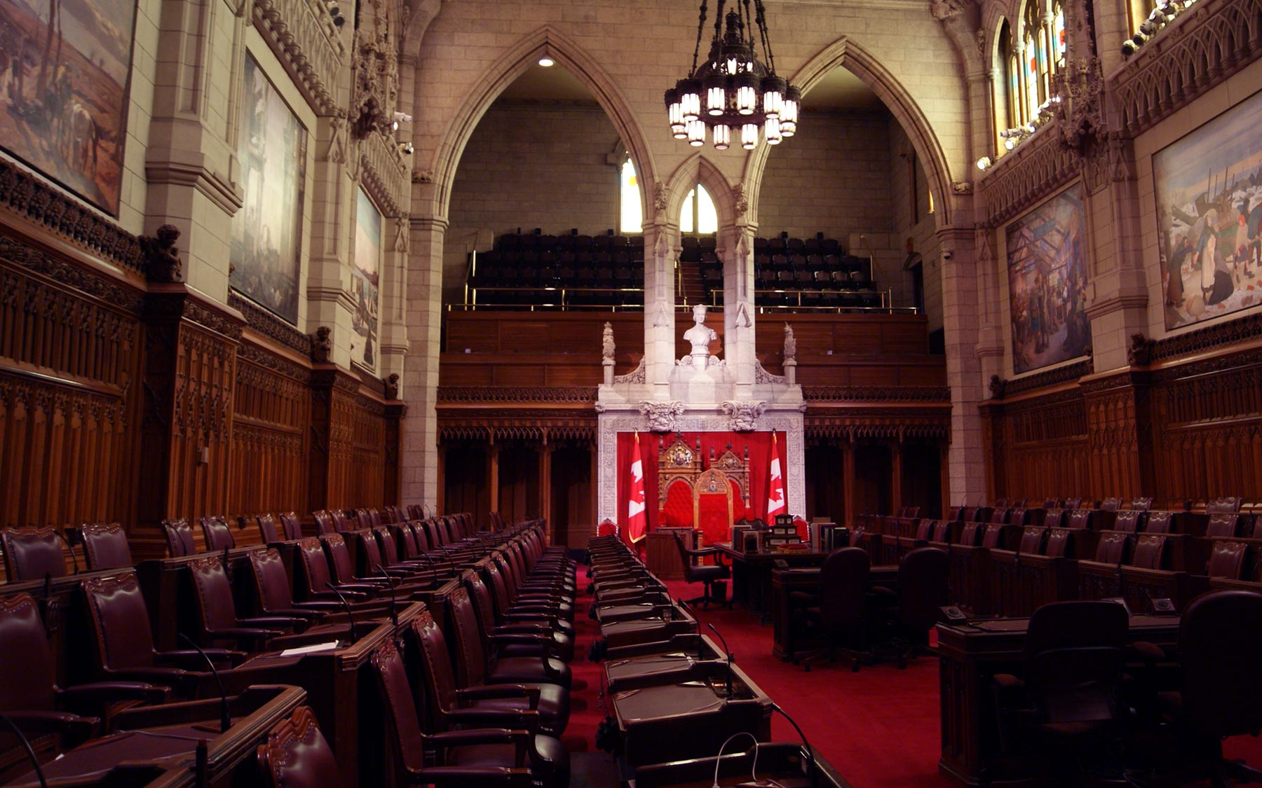 The Senate Chambers on Parliament Hill in Ottawa, ON.
