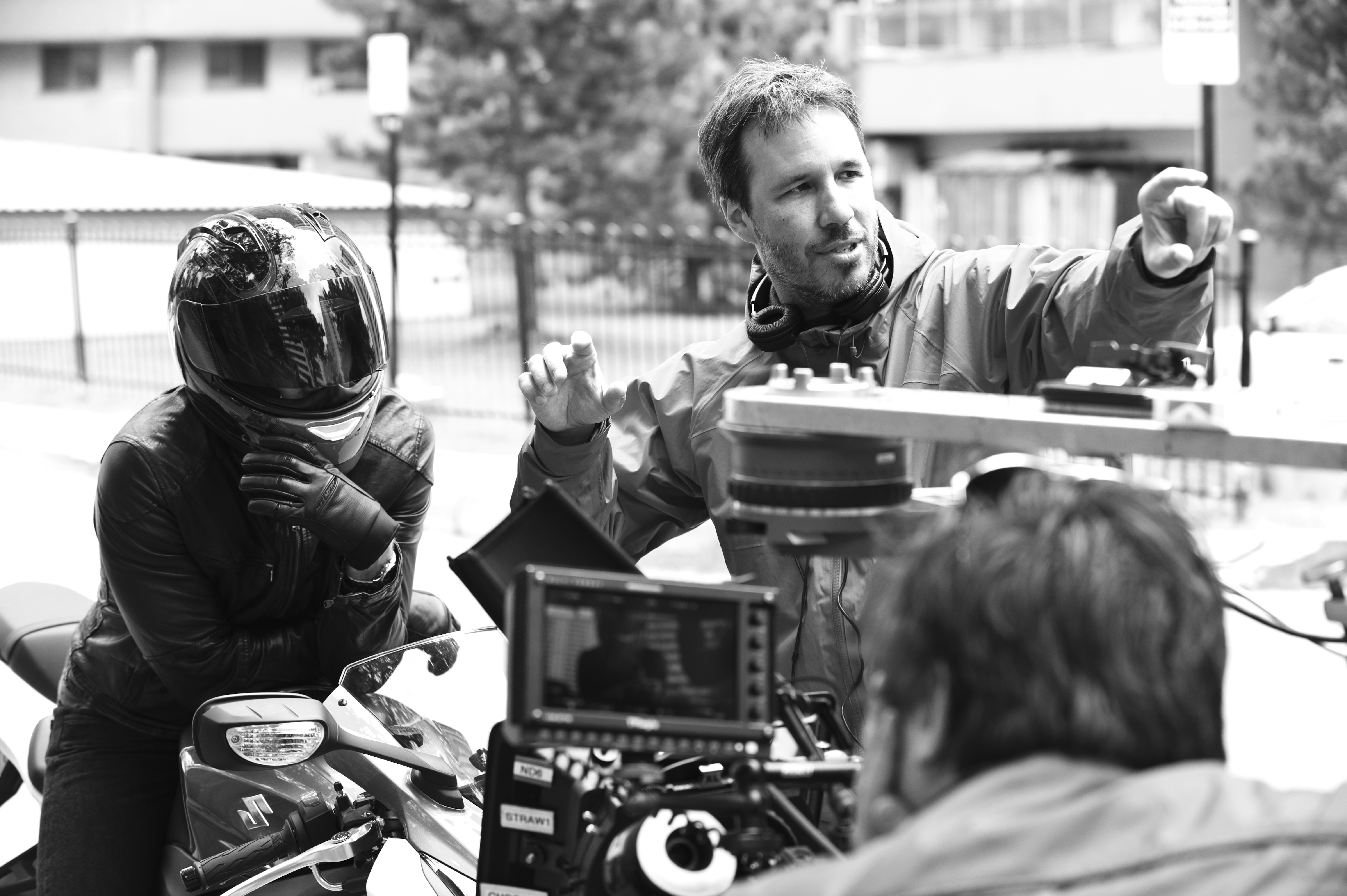 Denis Villeneuve (right) on the set of Enemy (2013)