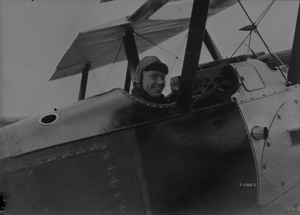 Raymond Collishaw in a Sopwith Camel aircraft, Izel-lès-Hameau, France, 12 July 1918.