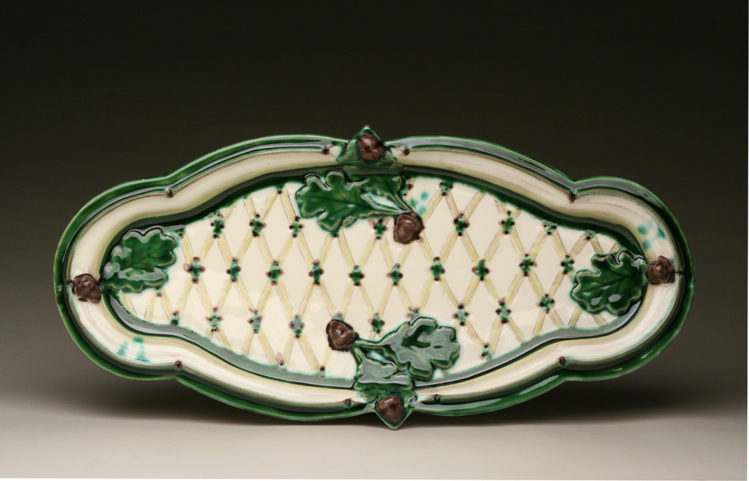 Platter, Press-molded Earthenware with slip and glazes