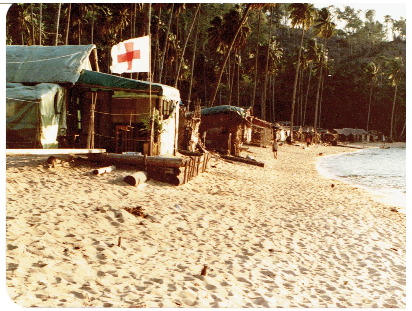 The Red Cross at Pulau Bidong Refugees Camp, Malaysia