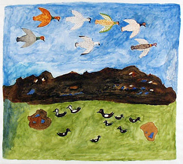 Kingmeata Etidlooie, Birds & Landscape, watercolor on paper