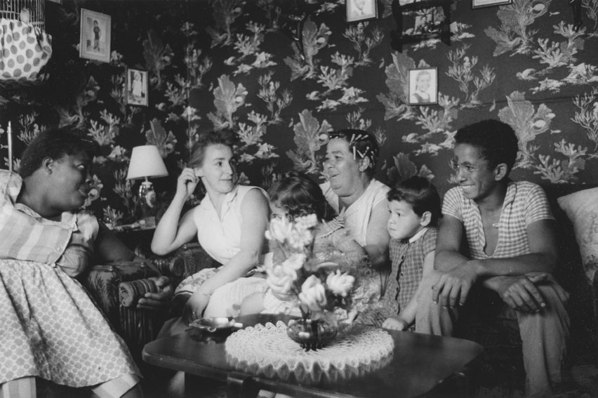 A family in their living room in Africville, 1965.