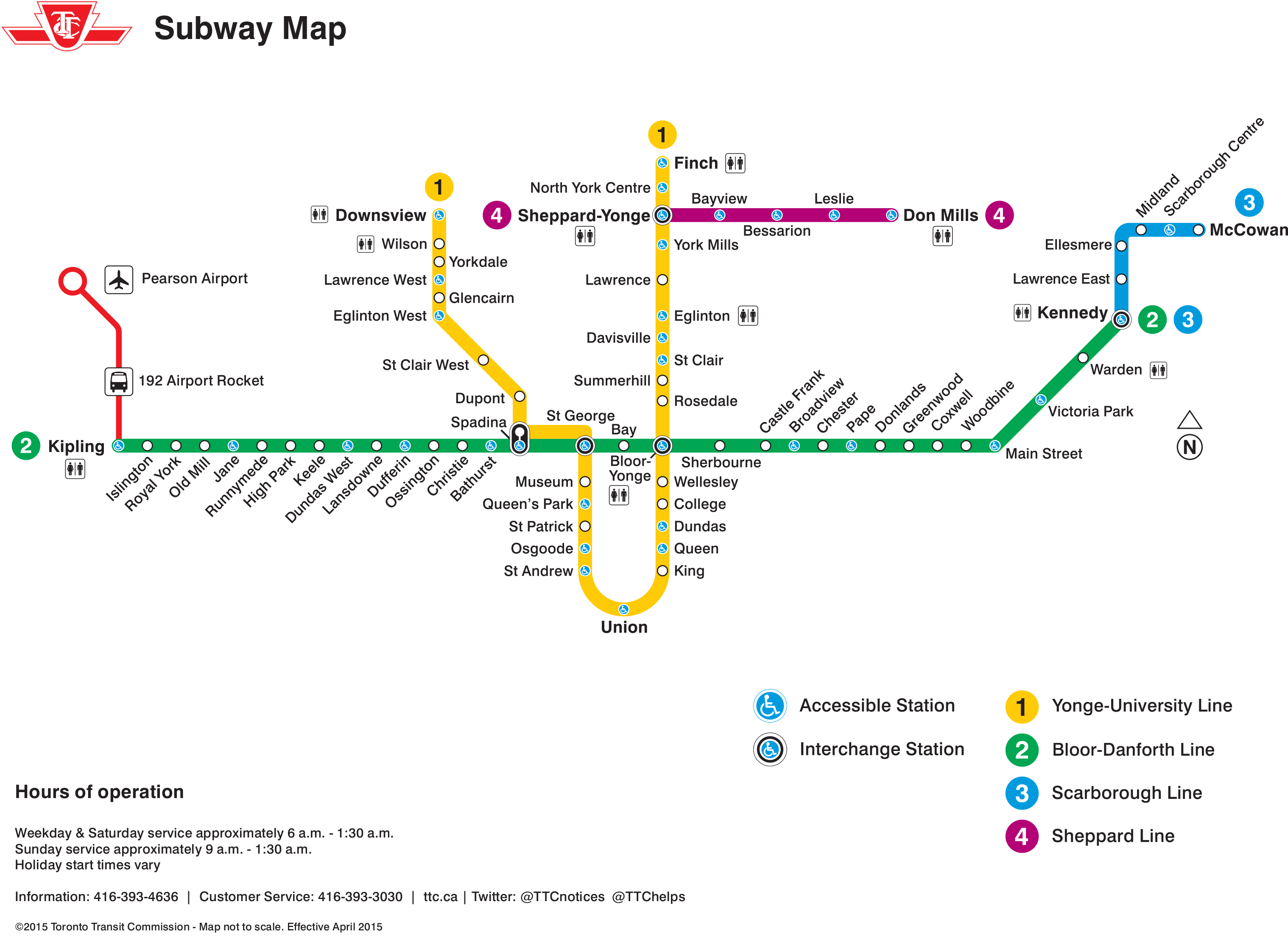 Toronto Subway System Map, 2015