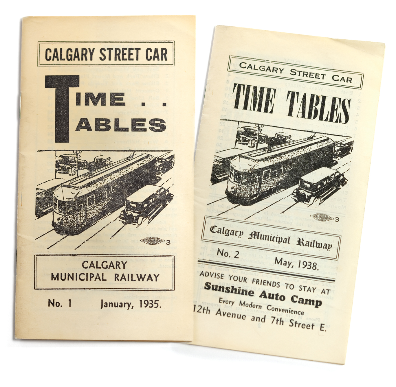 Calgary Streetcar Time Tables, 1935 and 1938