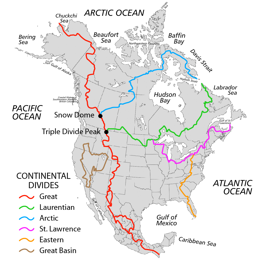Bodies Of Water Canada Map.Continental Divides In Canada The Canadian Encyclopedia
