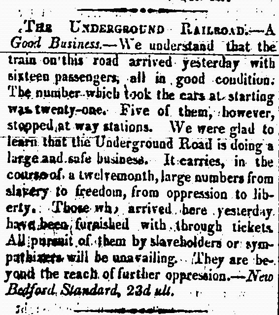 Clipping from The Provincial Freeman Newspaper, ca. 1850's