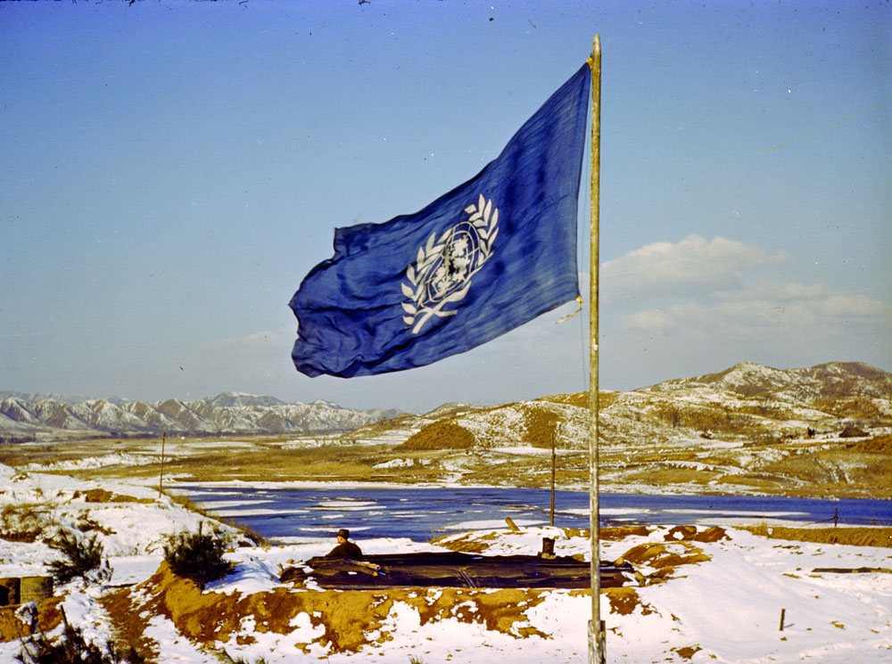 The UN flag in Korea