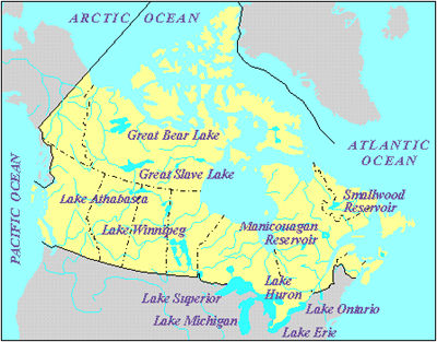 Lakes of Canada, Map