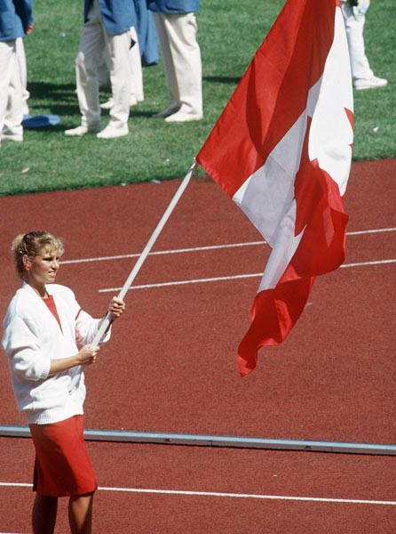 Carolyn Waldo Carrying Flag 1988
