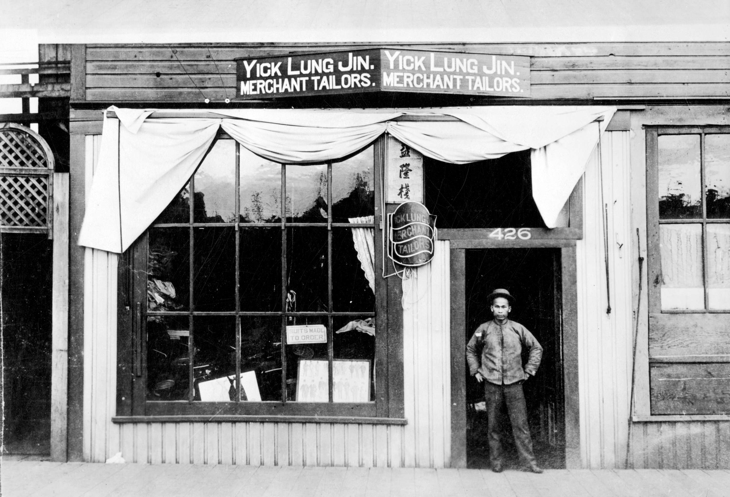 Yick Lung Jin's Merchant Tailors ' shop, 426 Carrall Street in Vancouver, B.C., ca. 1897.