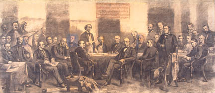 Quebec Conference of 1864 - during an era of restricted voting rights, and wild, unruly politics.