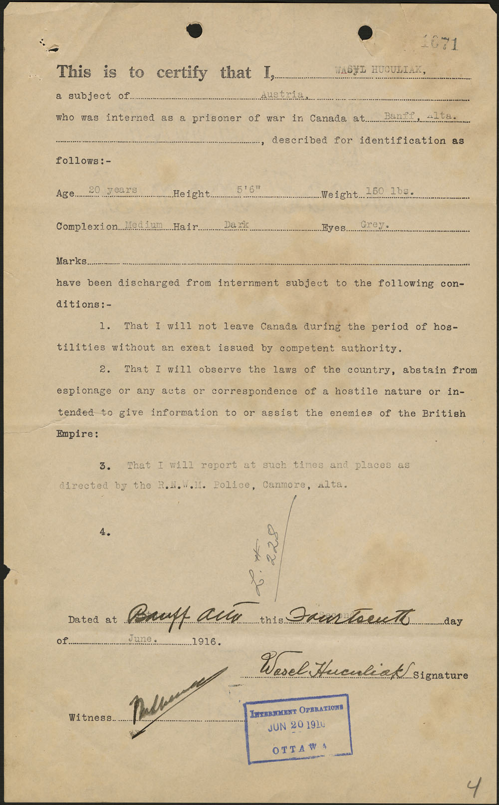 Wasyl Hasiuk's certificate of release