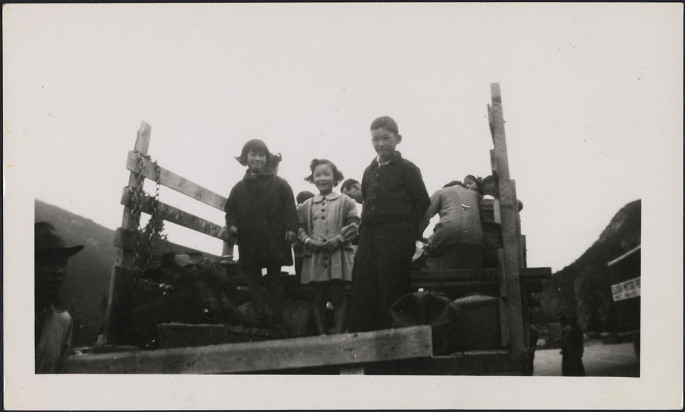 David Suzuki and two of his sisters in an internment camp