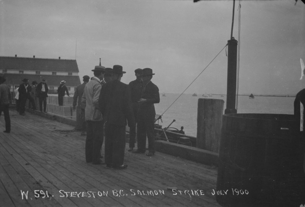Salmon fisherman on strike in Steveston, BC in July 1900.