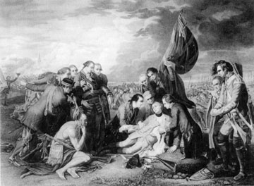 The death of General James Wolfe at Quebec, during the Seven Year