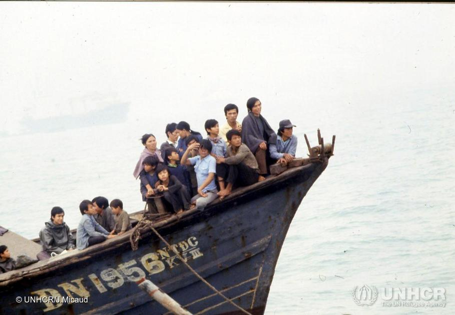 Vietnamese refugees arriving in Hong Kong, 1981
