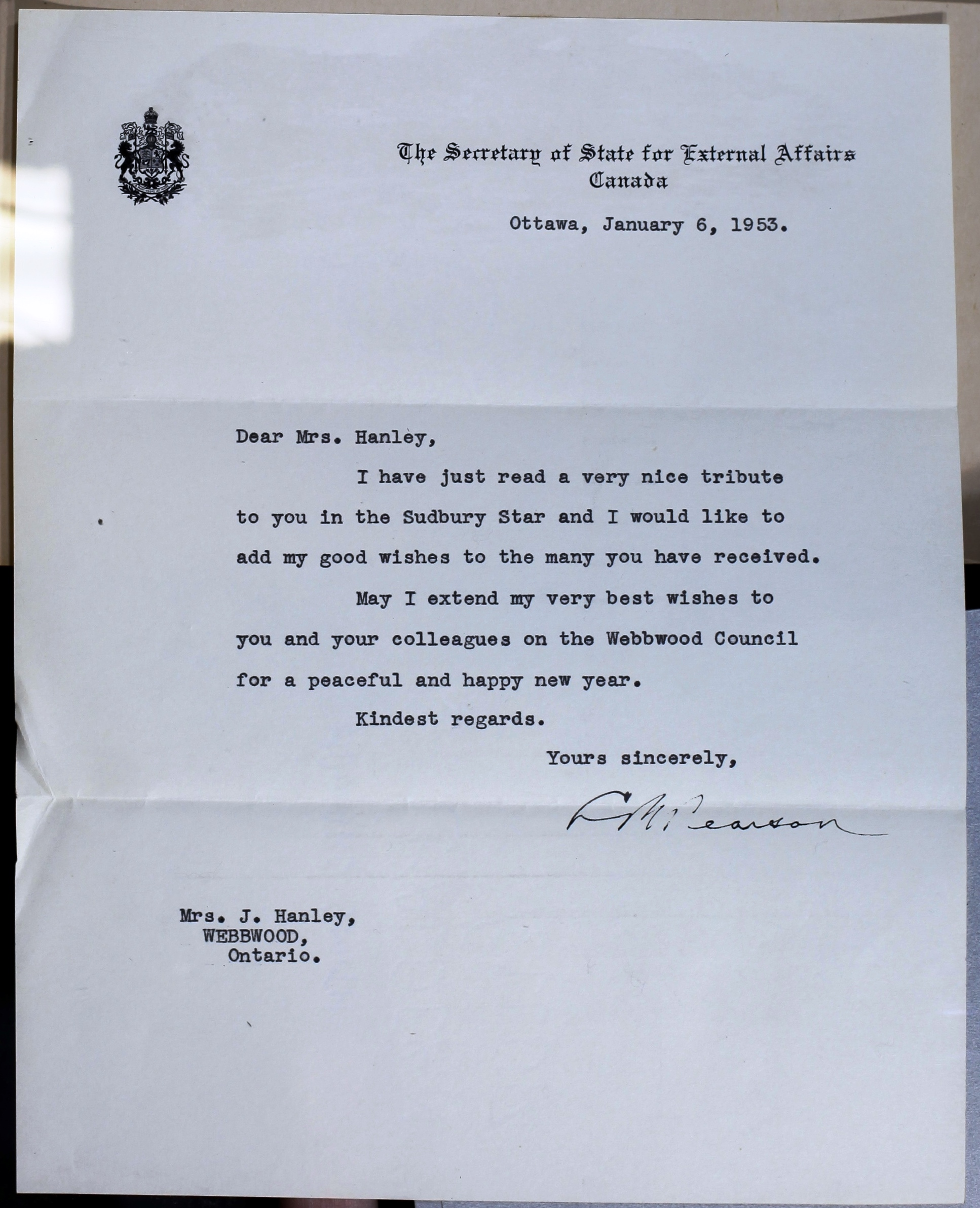 Letter from Secretary of State for External Affairs and future Prime Minister, Lester B. Pearson, congratulating Hanley on her years of service, 6 January 1953.