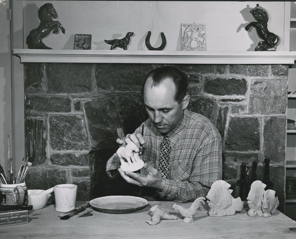 Jarko Zavi of Czechoslovakia working on ceramics in 1947