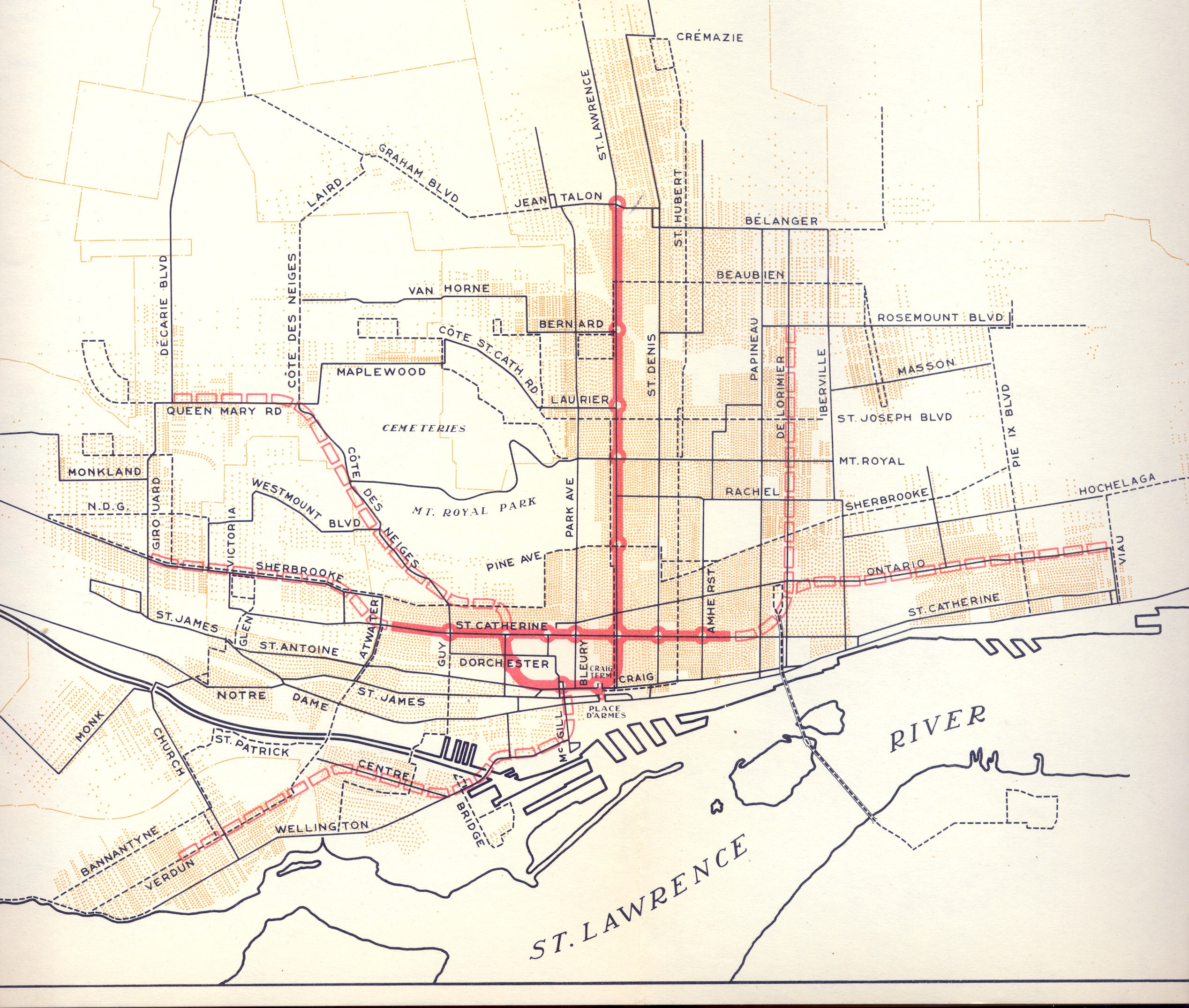 Proposed Montréal metro network, 1944