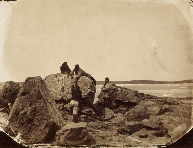 French fishermen climbing rocks, ca. 1857, Newfoundland