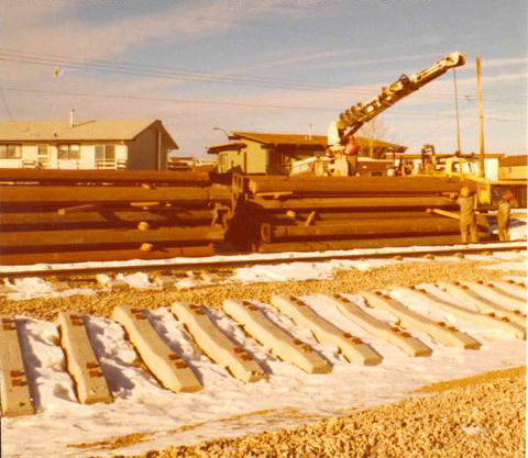 LRT track construction, Calgary, 1981