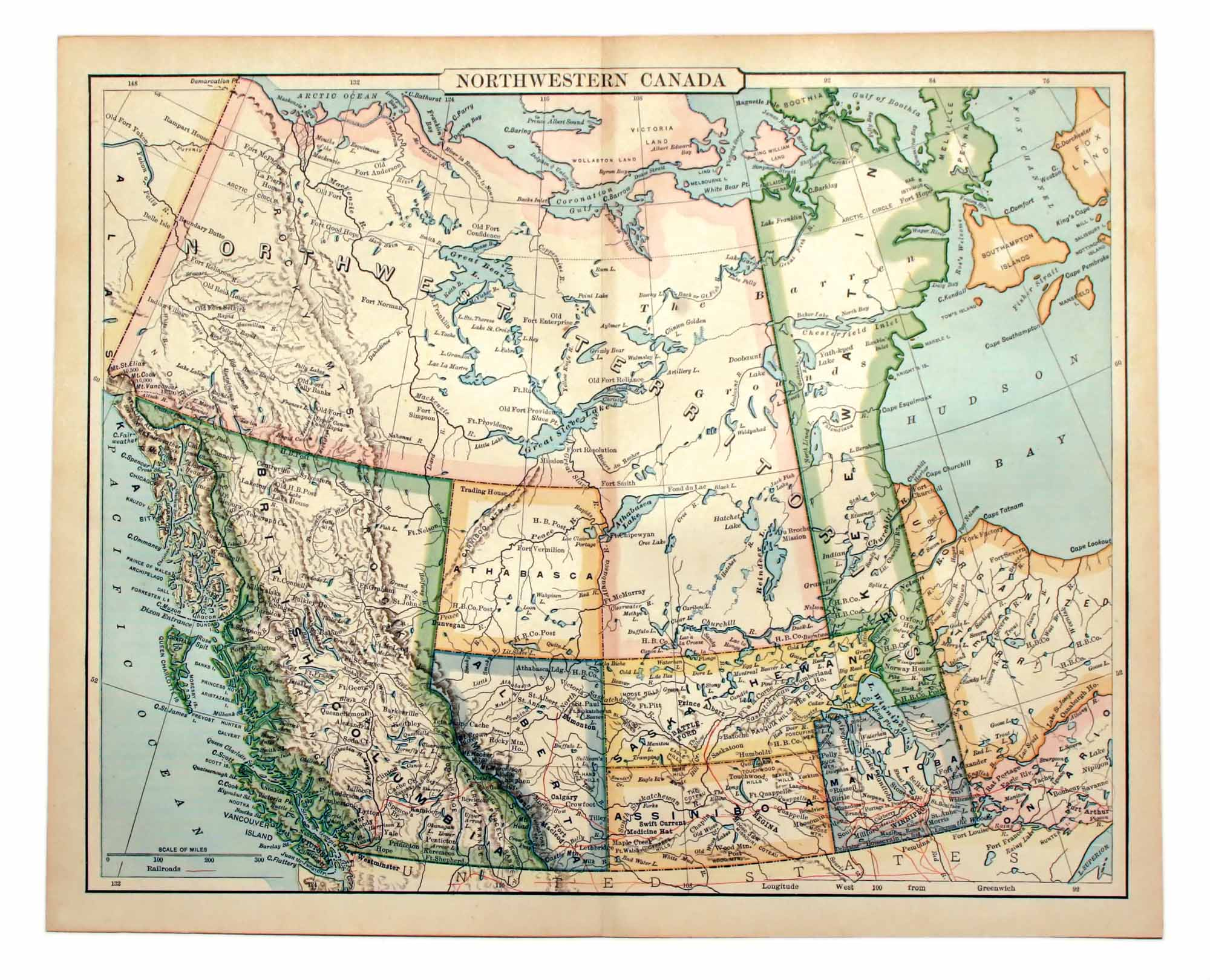 Old Map of Western Canada.