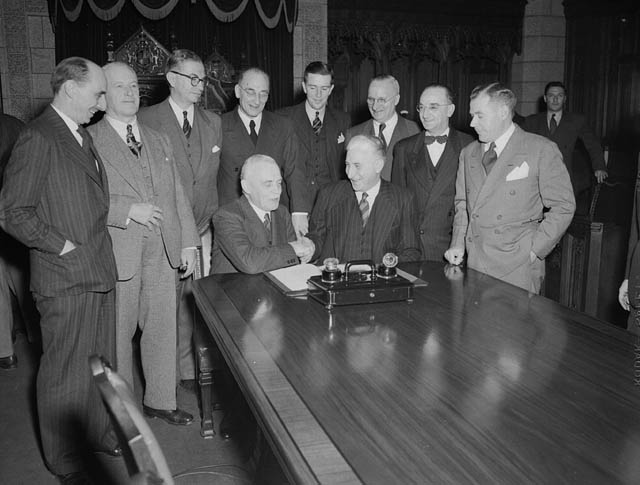 Signing the Agreement Admitting Newfoundland to Confederation