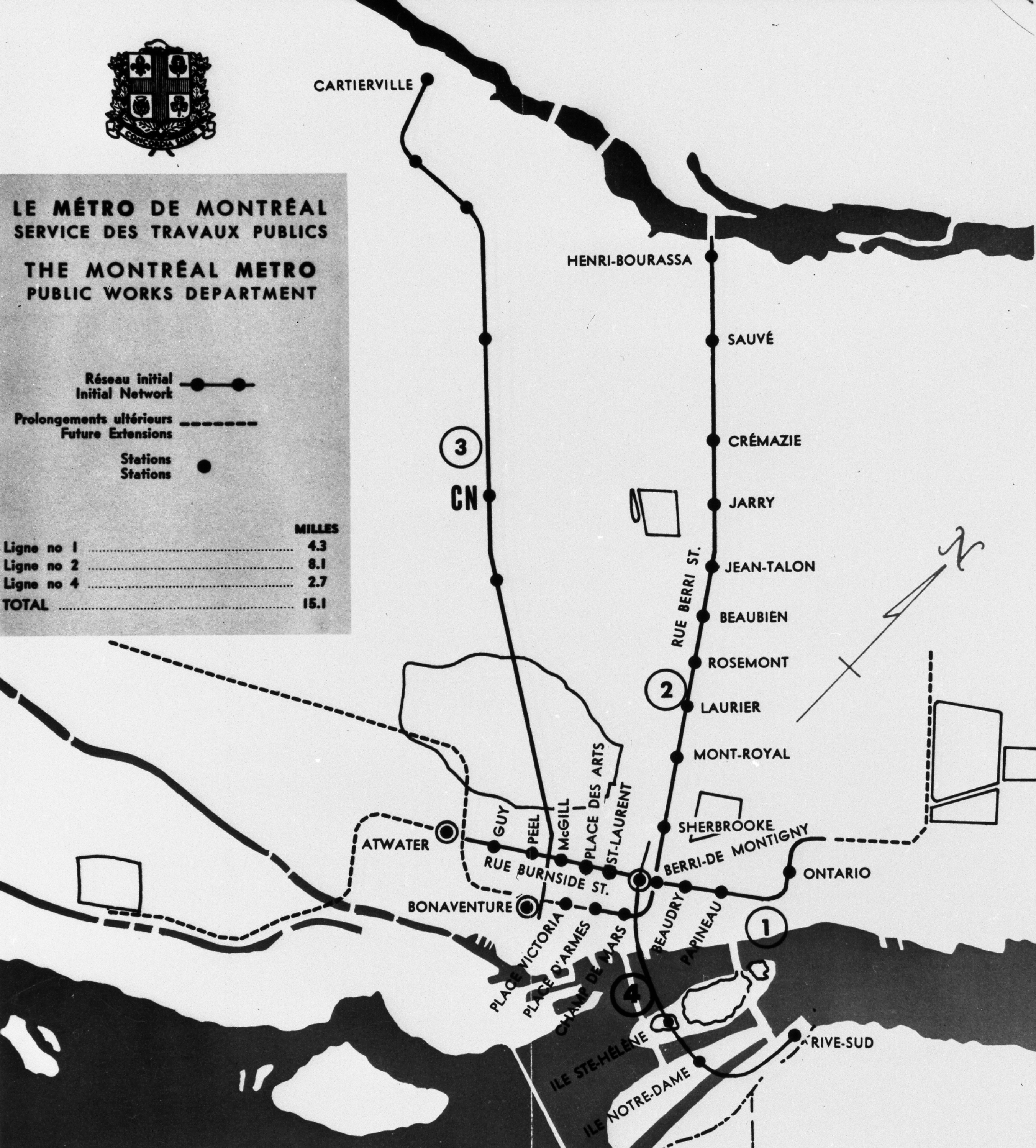 Map of the modified Montréal metro network, 1963
