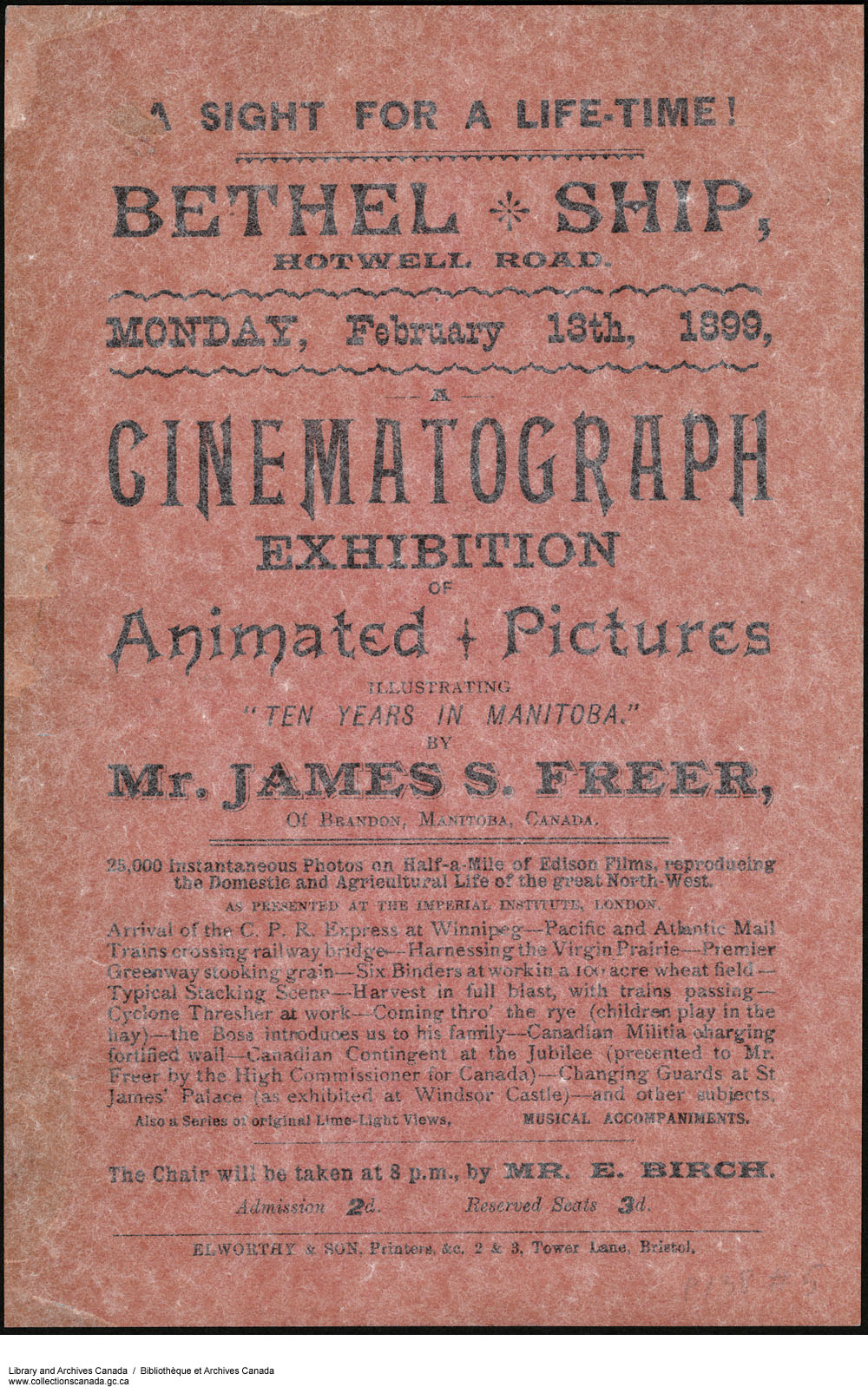 A flyer advertising James Freer's Ten Years in Manitoba