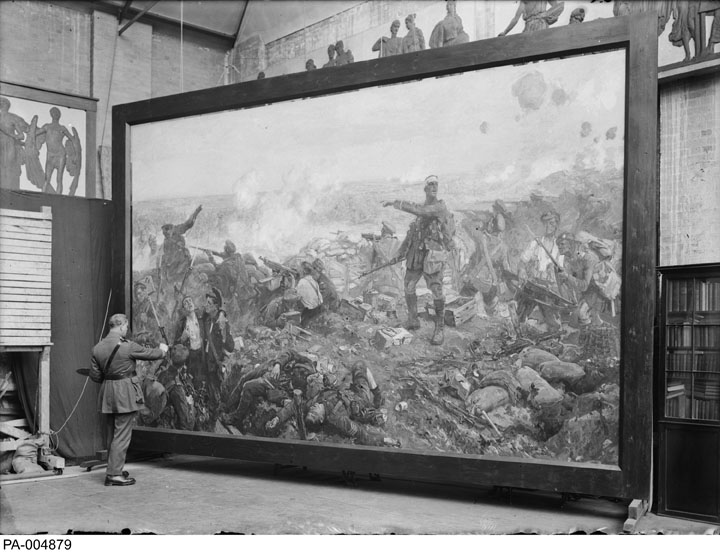"Richard Jack painting ""The Second Battle of Ypres""."