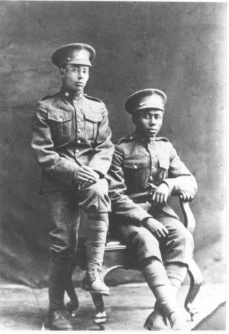 Bob Jamerson and Columbus Bowen, circa 1914-1918, Amber Valley, Alberta.