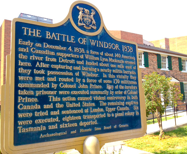 Plaque commémorative de la Bataille de Windsor