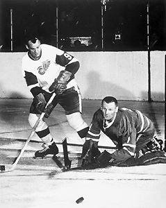 Gordie Howe and Johnny Bower