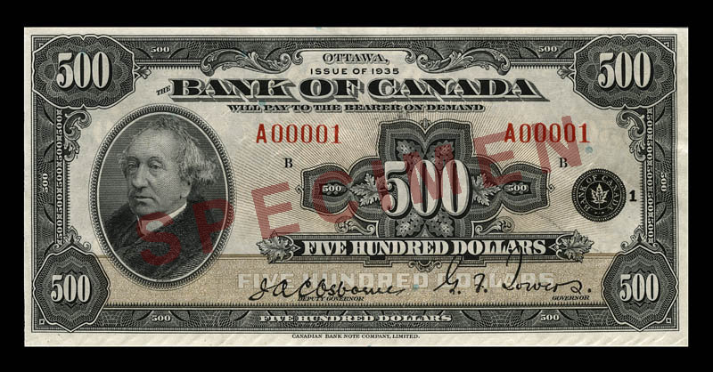 Front of the 0 Note (1935\u201337)